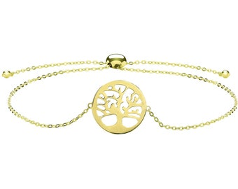 "Ladies 9ct Yellow Gold Tree of Life Slider Toggle 7"" Bracelet Hallmarked - Real 9K Gold"