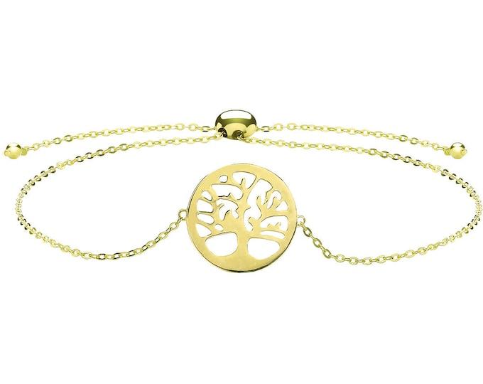 "Ladies 9ct Yellow Gold Tree of Life Slider Toggle 7"" Bracelet Hallmarked - Real 9K Gold"