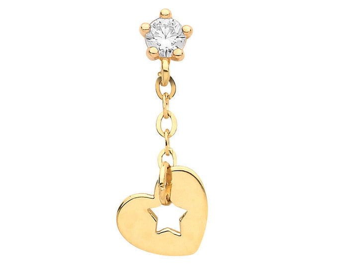 9ct Yellow Gold Cz Cartilage Single Stud Screw Back Earring With Heart & Star Drop