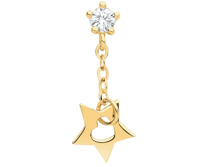 9ct Yellow Gold Cz Cartilage Single Stud Screw Back Earring With Cut Out Star Drop