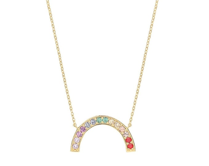 """9ct Yellow Gold Multi Color Cz Rainbow Charm 15.5"""" to 17.5"""" Necklace Hallmarked - Real 9K Gold"""