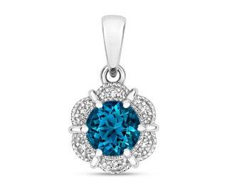 9K White Gold Diamond & London Blue Topaz Flower Pendant