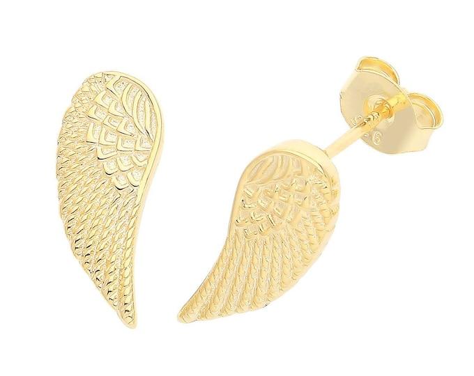 Gold Plated 925 Sterling Silver Angel Wings Stud Earrings 12x6mm