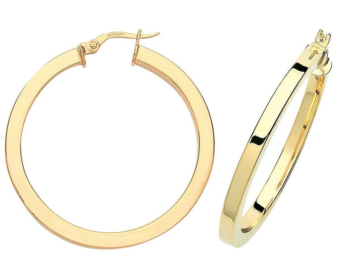 9ct Yellow Gold Plain 3mm Square Tube Hoop Earrings 15mm 20mm 25mm 30mm 40mm - Real 9K Gold