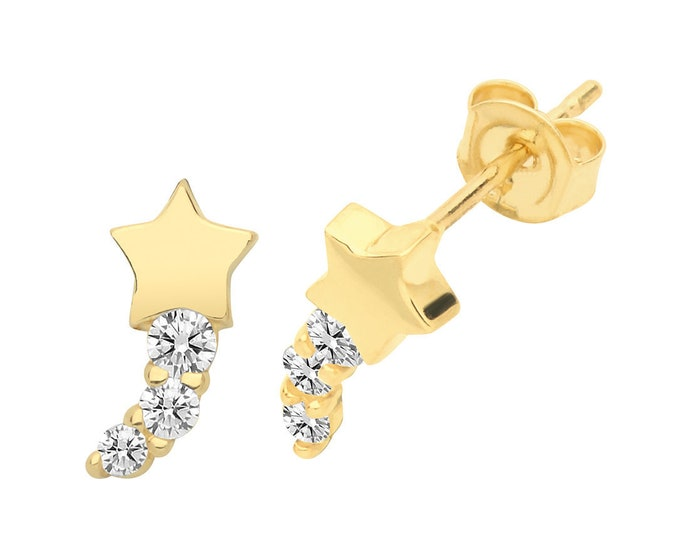 9ct Yellow Gold Interstellar Cz Shooting Stars Stud Earrings