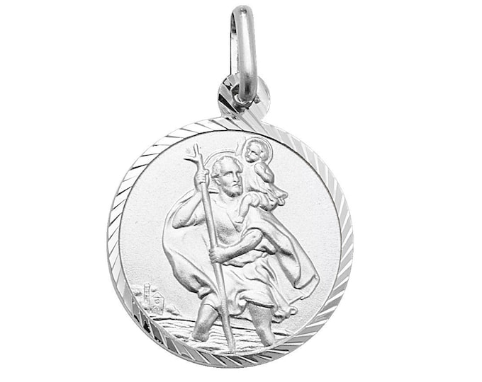 Solid Silver Diamond Cut Border St Christopher Medallion Charm Pendants & Chain