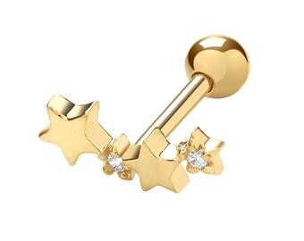 9ct Yellow Gold Shooting Stars Cz Cartilage 6mm Bar Screw Back Single Stud Earring