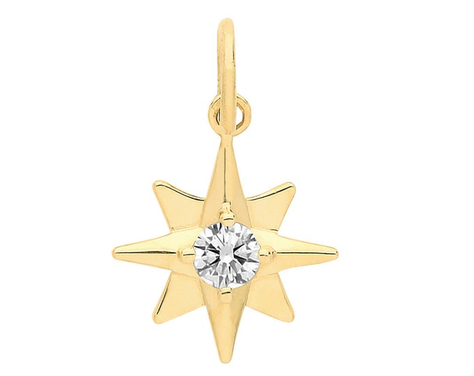 9ct Yellow Gold Small 9mm Eight Point Star Design Cz Pendant - Real 9K Gold