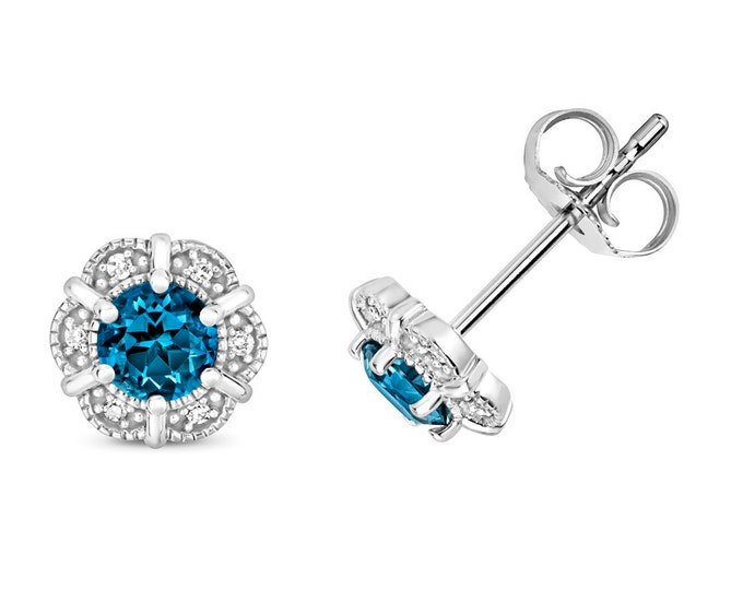 9K White Gold Diamond & London Blue Topaz Flower Stud Earrings
