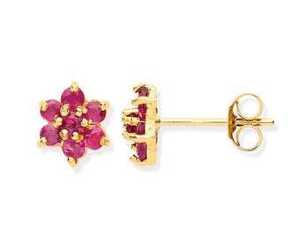 Ruby Cluster Stud Earrings - 9ct Yellow Gold 4.5mm Real Ruby Flower Stud Earrings - Real 9K Gold