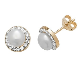 9ct Yellow Gold 5mm Cultured Pearl & Cz Halo Surround Stud Earrings - Real 9K Gold
