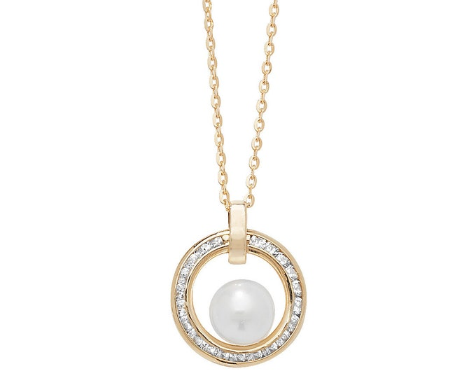 "9ct Gold 12mm Channel Set Cz Circle of Life & Pearl 18"" Necklace"