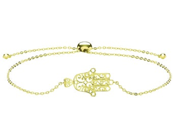 "Ladies 9ct Yellow Gold Hamsa Hand Slider Toggle 7"" Bracelet Hallmarked - Real 9K Gold"