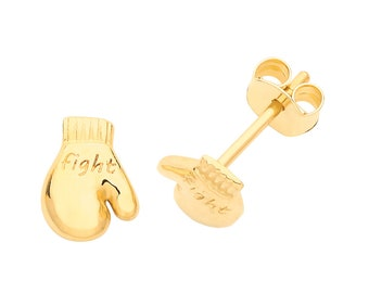 9ct Yellow Gold Small 6x5mm Boxing Glove Fight Engraved Stud Earrings - Real 9K Gold