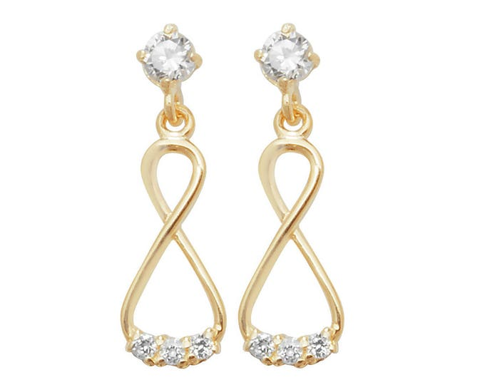 9ct Yellow Cz Gold Infinity 1.5cm Drop Earrings