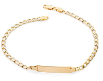 """Babies 9ct Yellow Gold 6"""" Curb Chain ID Bracelet Hallmarked"""