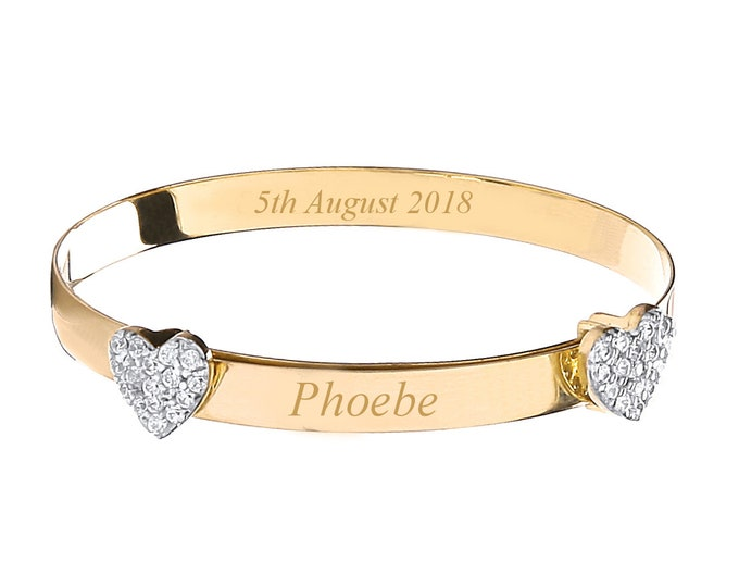 9ct Yellow Gold Double Cz Heart Baby Identity Bangle - Personalised Name