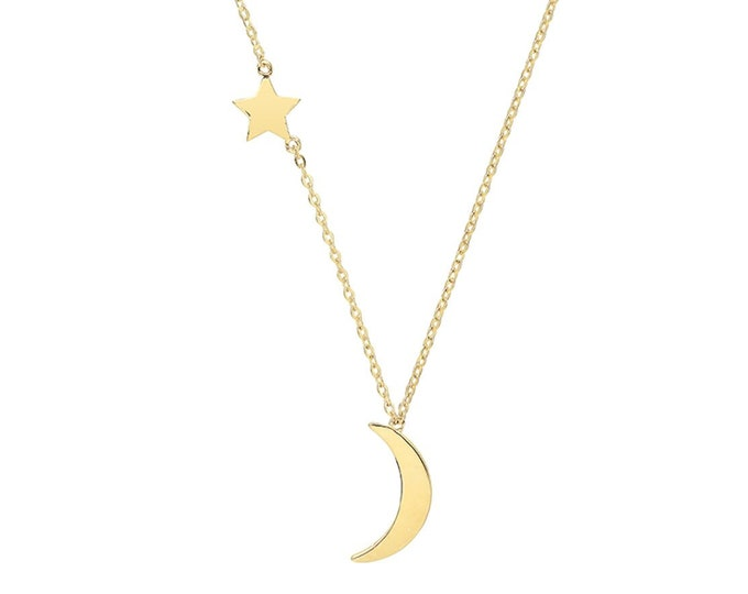 """9ct Yellow Gold Interstellar Star & Moon Charm Chain 15.5"""" to 17.5"""" Necklace Hallmarked - Real 9K Gold"""
