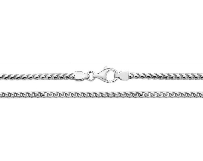 Silver Franco Link Chain Necklace Rhodium Plated 925 Sterling Silver 2mm Wide
