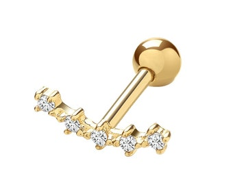 SINGLE 9ct Yellow Gold Constellation Cz Stars Cartilage 6mm Bar Screw Back Stud Earring - Solid 9K Gold