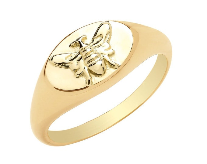 9ct Yellow Gold 1.2mm Shank Bumble Bee ID Signet Ring Hallmarked - Real 9K Gold