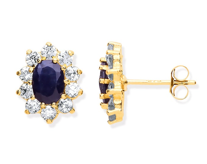 Real Blue Sapphire & Cz Oval Cluster Stud Earrings 9ct Yellow Gold