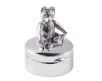 925 Sterling Silver Teddy Bear First Tooth Keepsake Box - Personalised Engraved Name