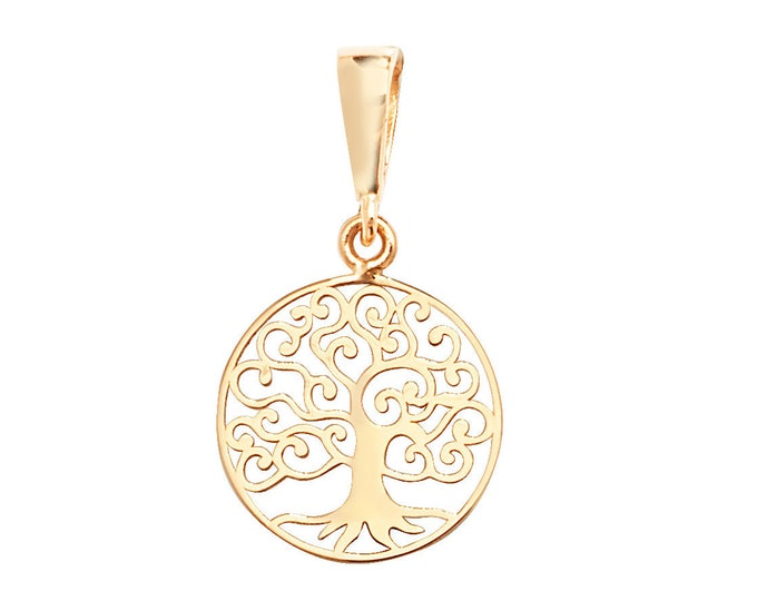9ct Yellow Gold Small 10mm Diameter Cut Out Tree of Life Pendant- Real 9K Gold