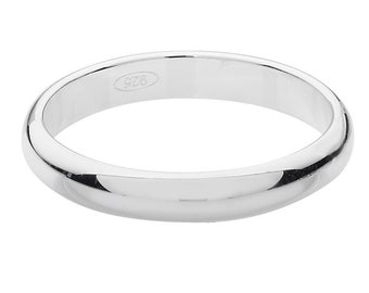 Plain D-Shape Wedding Ring Widths 3mm-8mm 925 Sterling Silver Sizes J-Z
