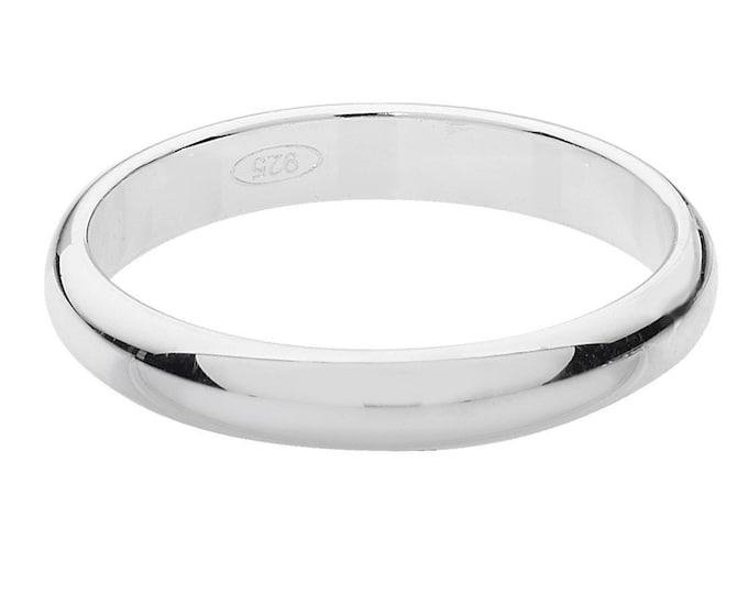 Plain D-Shape Wedding Ring Widths 3mm-8mm 925 Sterling Silver Sizes J-Z