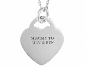 Personalised 925 Sterling Silver 2cm Heart Tag Necklace - Engraved Name, Initials or Message