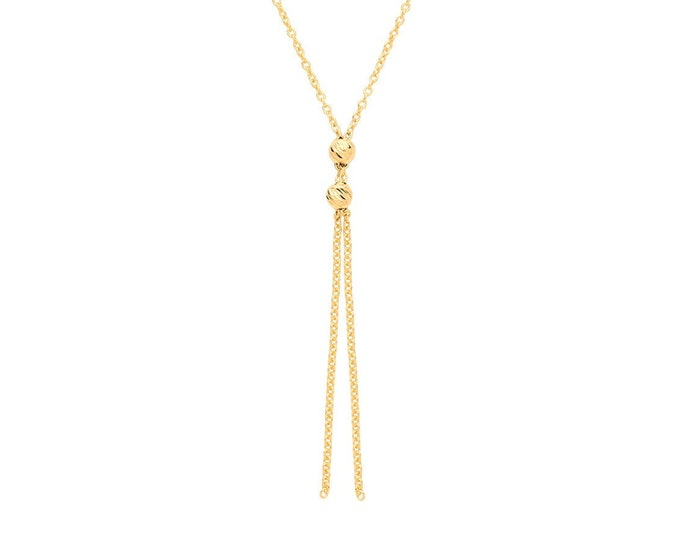 """9ct Yellow Gold Light Beaded Tassel Lariat Pendant on Adjustable 16""""-18"""" Necklace - Real 9K Gold"""