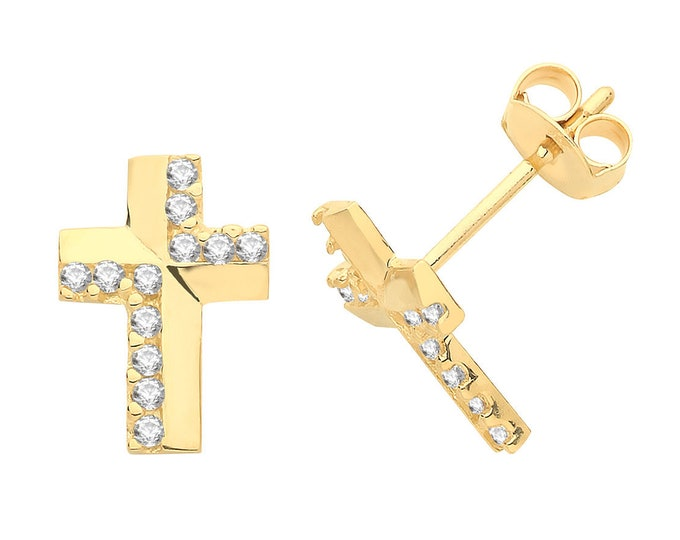 Contemporary 9ct Yellow Gold Pave Cz Cross Stud Earrings 8x6mm