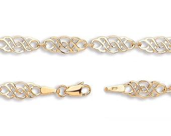 "Celtic Knot Bracelet Ladies 9ct Yellow Gold 7"" Bracelet Hallmarked - Real 9K Gold"