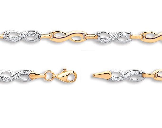"""Infinity Cz Link Bracelet 9ct 2 Colour Gold 7"""" Bracelet Hallmarked"""