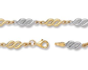"""Twisted Spiral Link Bracelet 9ct 2 Colour Gold 7"""" Bracelet Hallmarked - Real 9K Gold"""
