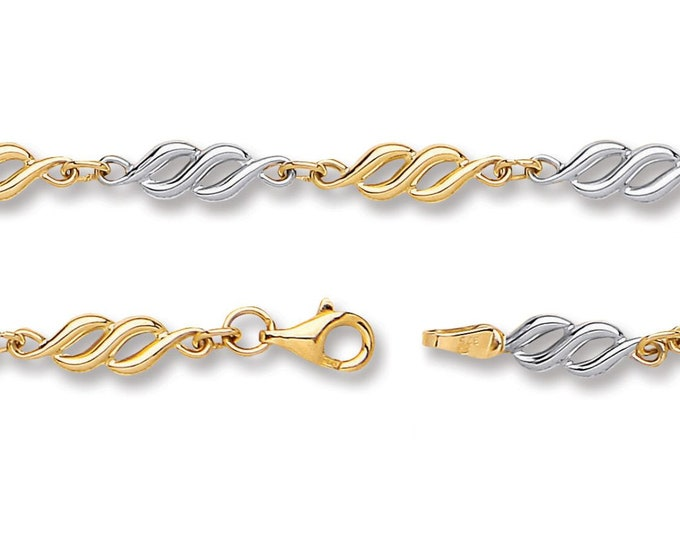 "Twisted Spiral Link Bracelet 9ct 2 Colour Gold 7"" Bracelet Hallmarked"