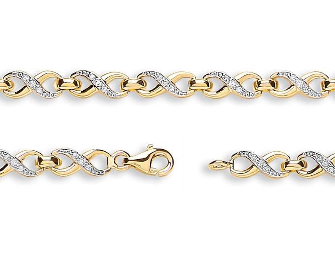 "Figure of Eight Infinity Cz Link Bracelet 9ct Yellow Gold 7"" Bracelet Hallmarked"