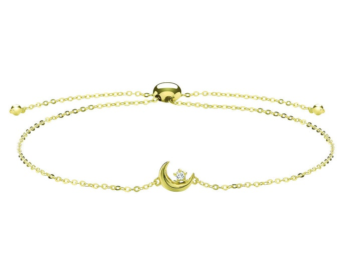 "Ladies 9ct Yellow Gold Constellation Cz Moon & Star Slider Toggle 7"" Bracelet"