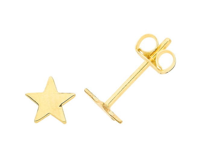 Pair of 9K Yellow Gold Small 4mm Flat Star Stud Earrings- Solid 9K Gold