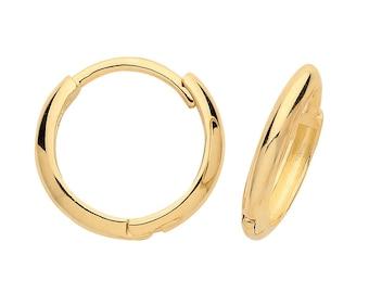 9ct Yellow Gold 10mm Diameter Hinged D Shaped Hoop Earrings - Real 9K Gold