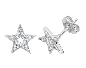 925 Sterling Silver 8mm Pave Cz Celestial Star Shaped Stud Earrings