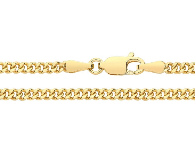 9ct Yellow Gold 2.3mm Wide Close Curb Link Chain Necklaces Hallmarked - 9K Gold