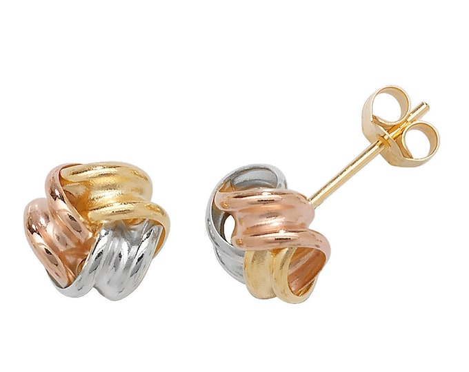 9ct Tri Colour Gold 8mm Twisted Ribbon Knot Stud Earrings - Real 9K Gold