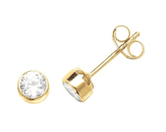 9ct Yellow Gold Rub-over Setting Cz Solitaire Stud Earrings 3mm 4mm 5mm