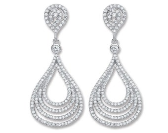 Sparkly 925 Sterling Silver 4 Row Pave Cz Teardrop 45mm Long Drop Earrings