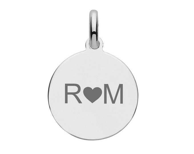 Personalised 925 Silver 1.5cm Round Disc Tag Pendant - Customised Engraved 3 Characters