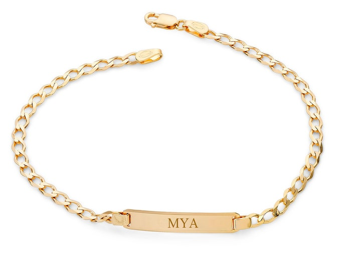 "Baby 9ct Yellow Gold 6"" Curb Chain Identity Bracelet - Personalised Engraved Name"