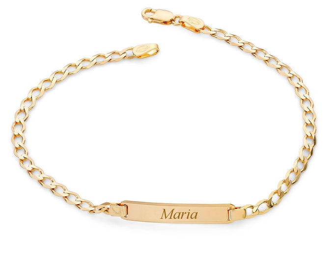 "Ladies 9ct Yellow Gold 7"" Curb Chain Identity Bracelet - Personalised Engraved Name"