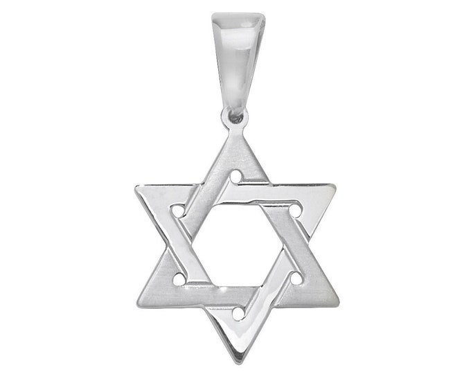 925 Sterling Silver Plain Polished Star of David Pendant Necklaces